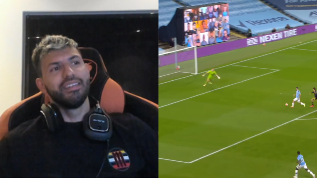 Aguero Man City analyses his goals vs Arsenal on stream Twitch