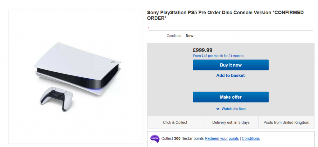 Scalpers re-sell PS5 pre-orders on eBay for £1000