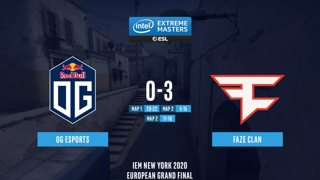 IEM New York 2020 Europe results standings OG FaZe