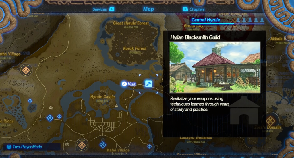 Hyrule Warriors: Age of Calamity blacksmith location